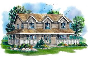Country Exterior - Front Elevation Plan #18-344