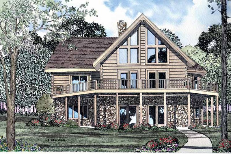 Log Exterior - Rear Elevation Plan #17-3103