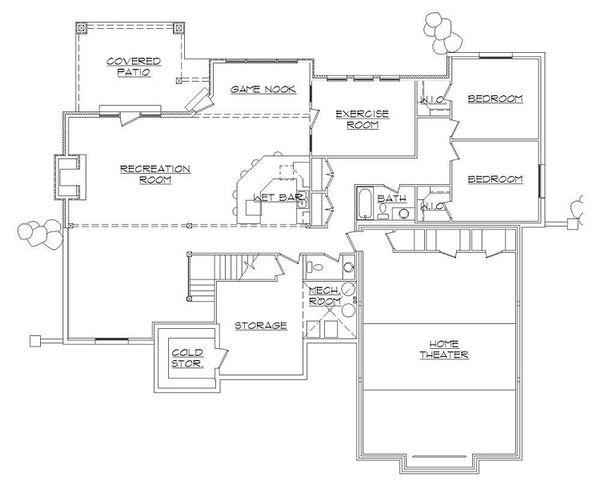 House Plan Design - European Floor Plan - Lower Floor Plan #5-421
