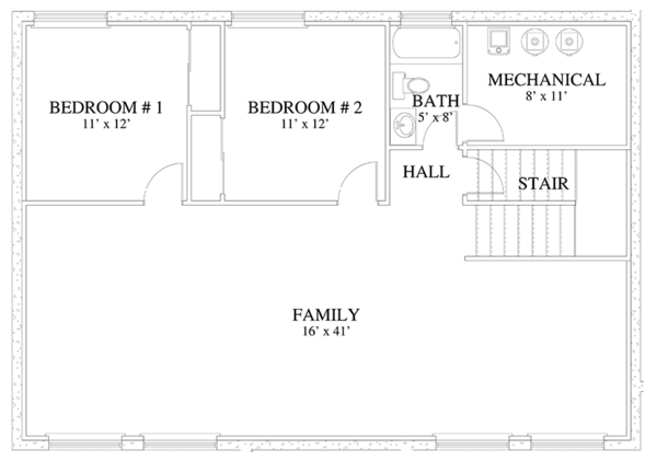 Traditional Floor Plan - Lower Floor Plan Plan #1060-18