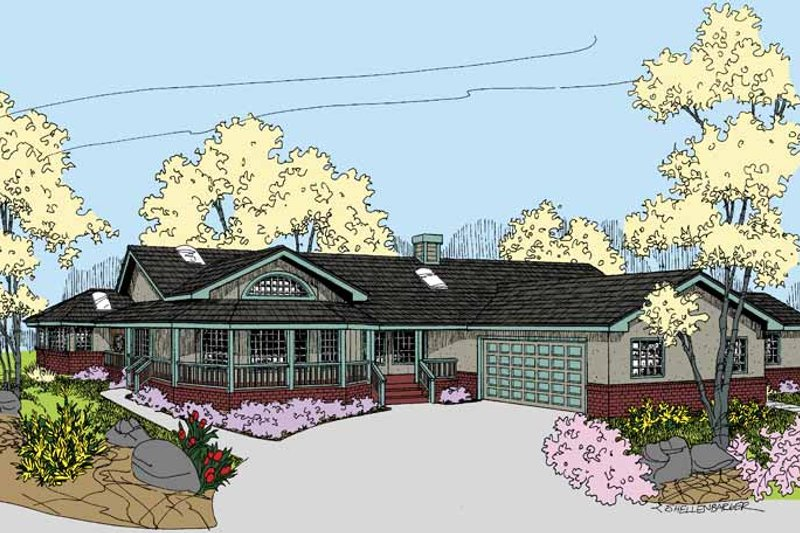 Home Plan - Country Exterior - Front Elevation Plan #60-1035