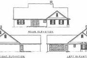 Country Style House Plan - 3 Beds 2.5 Baths 1698 Sq/Ft Plan #11-108 Exterior - Rear Elevation