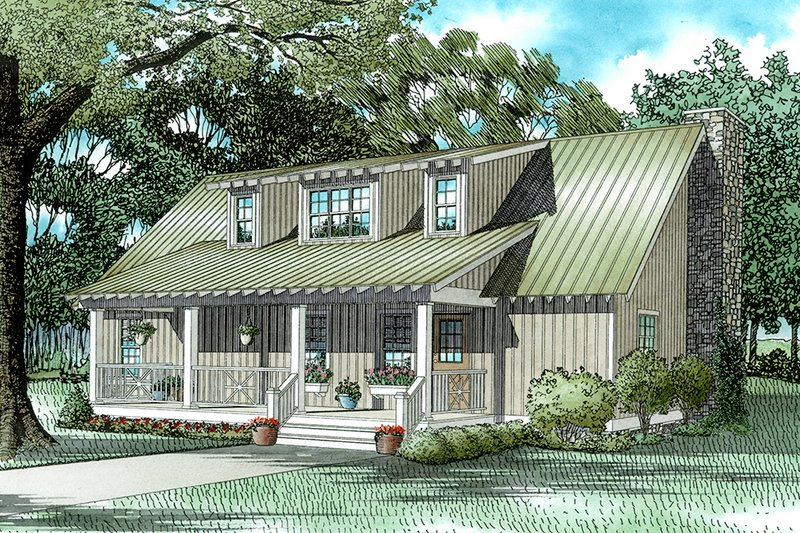 Farmhouse Style House Plan - 4 Beds 4 Baths 1970 Sq/Ft Plan #17-2016 Exterior - Front Elevation