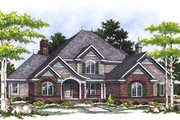 European Style House Plan - 4 Beds 3.5 Baths 3259 Sq/Ft Plan #70-477 Exterior - Front Elevation