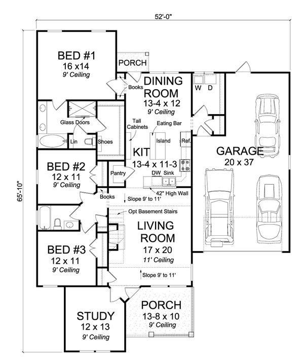 Country Floor Plan - Main Floor Plan Plan #513-2095