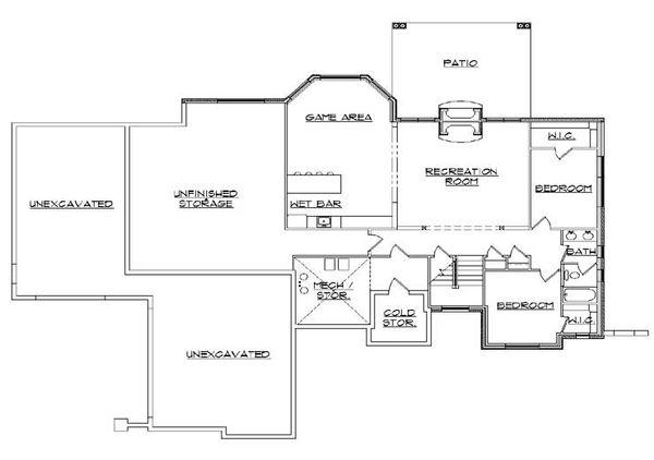 House Plan Design - European Floor Plan - Lower Floor Plan #5-291