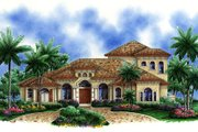Mediterranean Style House Plan - 3 Beds 5 Baths 4480 Sq/Ft Plan #27-453 Exterior - Front Elevation