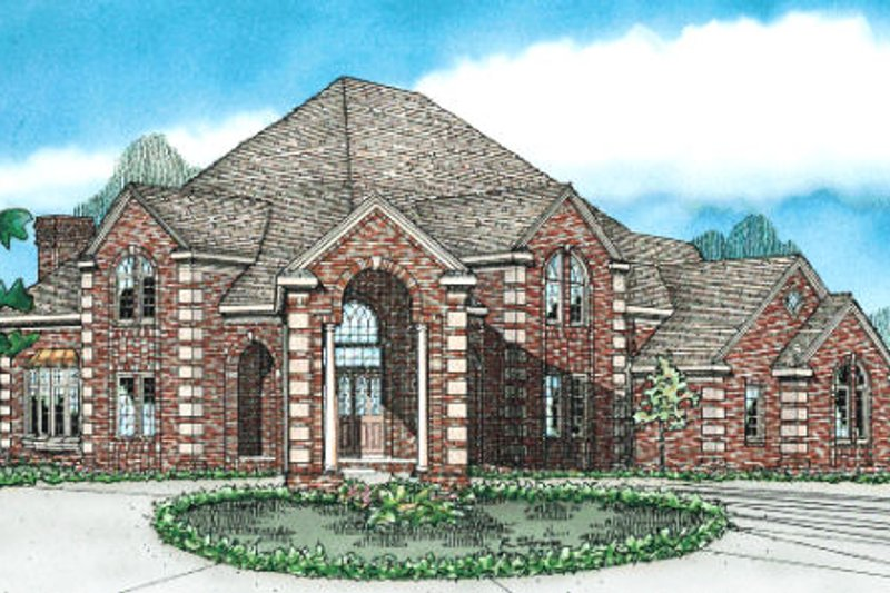 European Style House Plan - 4 Beds 3.5 Baths 3992 Sq/Ft Plan #20-1178 Exterior - Front Elevation