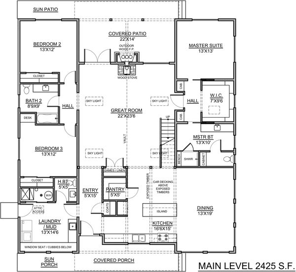 Craftsman Floor Plan - Main Floor Plan Plan #1073-18