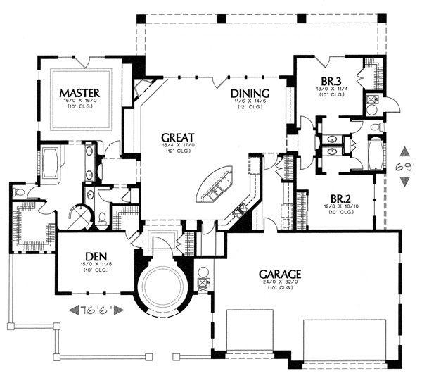 Mediterranean Floor Plan - Main Floor Plan Plan #4-240