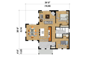 Contemporary Style House Plan - 2 Beds 1 Baths 850 Sq/Ft Plan #25-4382 Floor Plan - Main Floor Plan