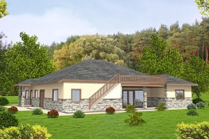 Home Plan Design - Ranch Exterior - Rear Elevation Plan #117-868