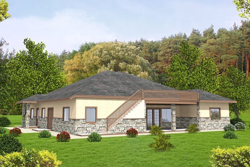 Architectural House Design - Ranch Exterior - Rear Elevation Plan #117-868