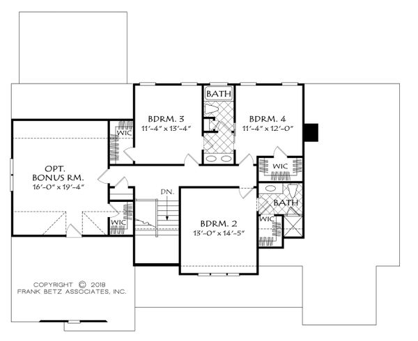 Farmhouse Floor Plan - Upper Floor Plan Plan #927-987