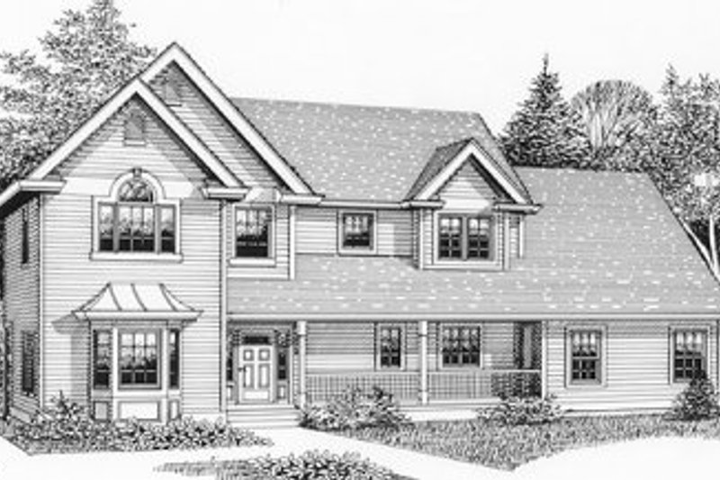 Country Style House Plan - 5 Beds 2.5 Baths 2377 Sq/Ft Plan #53-267 Exterior - Front Elevation