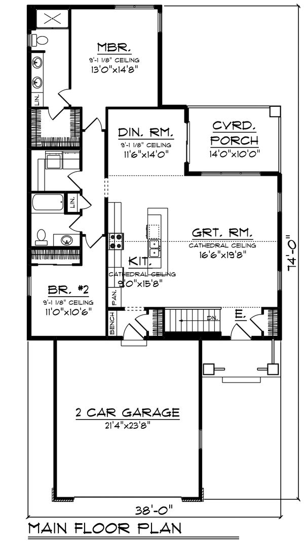 Ranch Floor Plan - Main Floor Plan Plan #70-1483