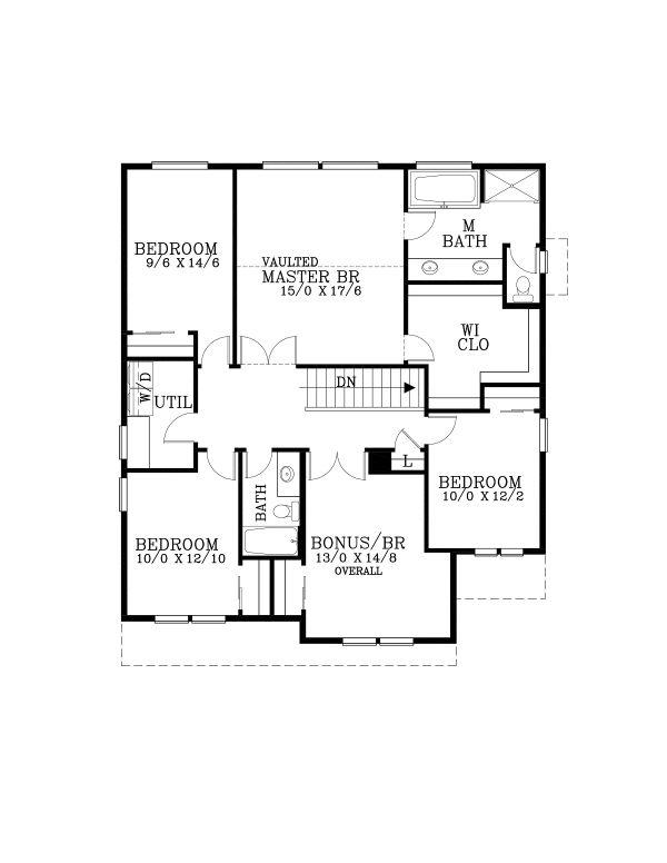 Craftsman Floor Plan - Upper Floor Plan #53-653