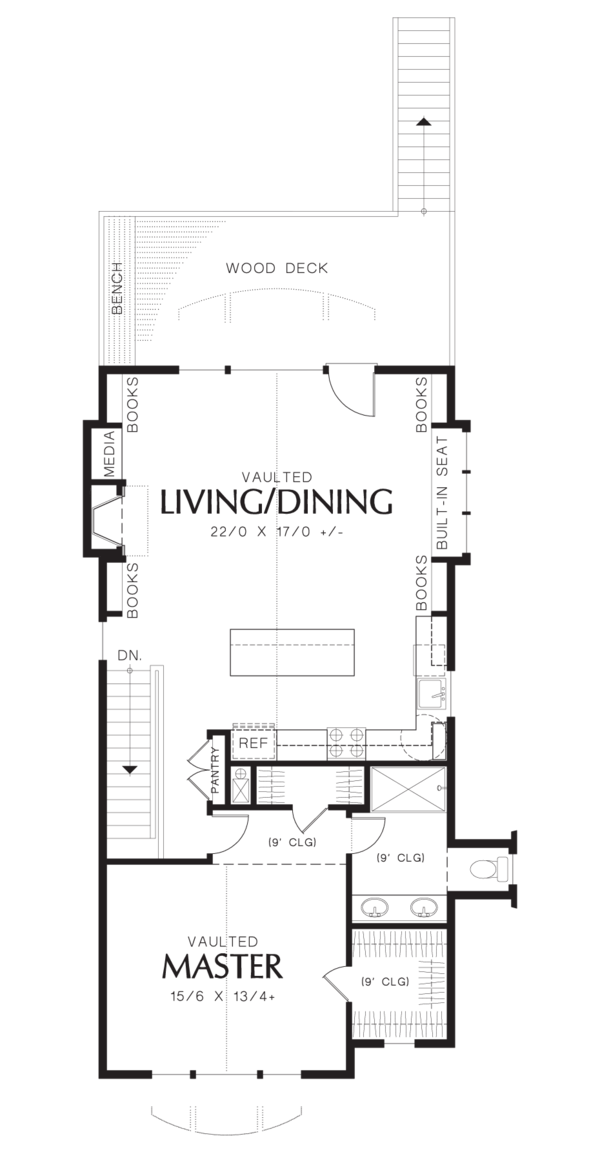 Craftsman Floor Plan - Upper Floor Plan Plan #48-573