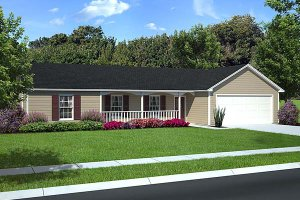 Ranch Exterior - Front Elevation Plan #312-195