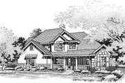 European Style House Plan - 3 Beds 3 Baths 2391 Sq/Ft Plan #50-188 Exterior - Front Elevation