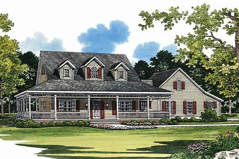 Farmhouse Exterior - Front Elevation Plan #72-132 - Houseplans.com