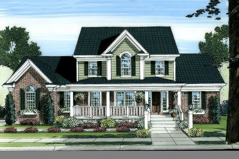 Country Exterior - Front Elevation Plan #46-440 - Houseplans.com