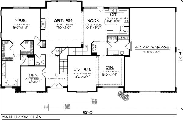 Traditional Floor Plan - Main Floor Plan Plan #70-1127