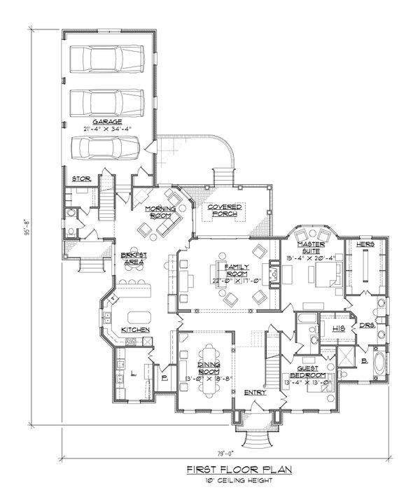 House Plan Design - Traditional Floor Plan - Main Floor Plan #1054-58