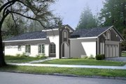 Adobe / Southwestern Style House Plan - 3 Beds 2 Baths 1189 Sq/Ft Plan #1-198 Exterior - Front Elevation