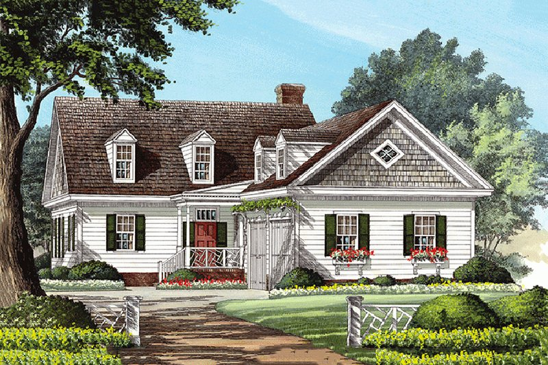 Southern Exterior - Front Elevation Plan #137-121