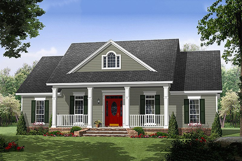 Southern Exterior - Front Elevation Plan #21-354