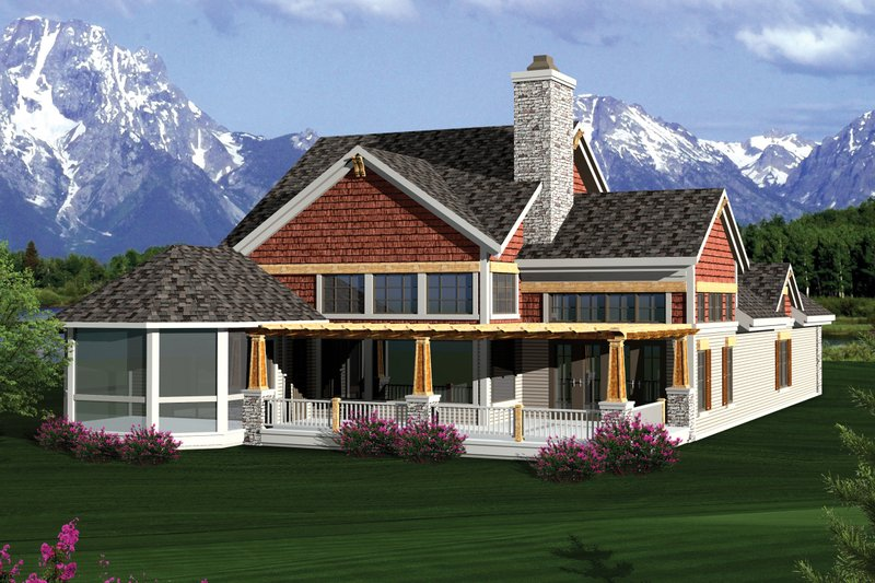 Craftsman Exterior - Rear Elevation Plan #70-1055 - Houseplans.com