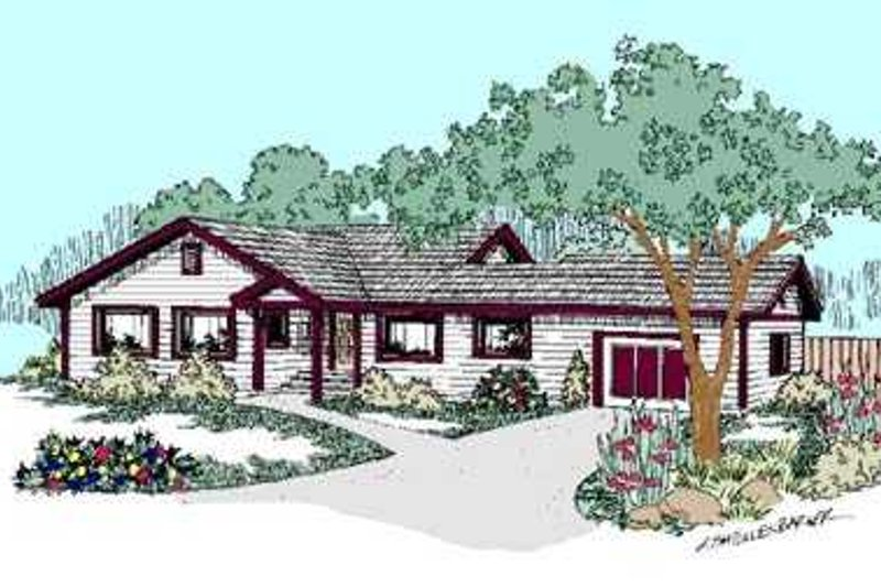 Ranch Exterior - Front Elevation Plan #60-484