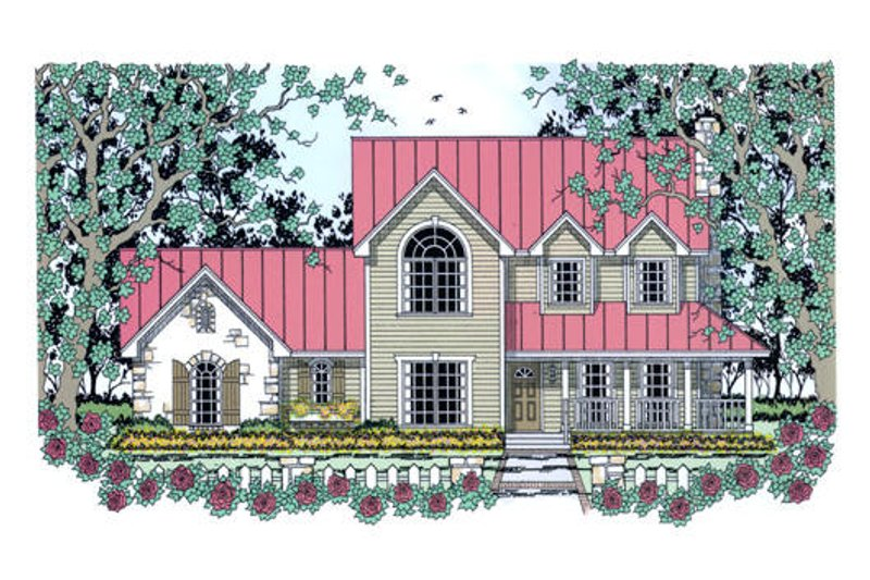 Southern Exterior - Front Elevation Plan #42-394