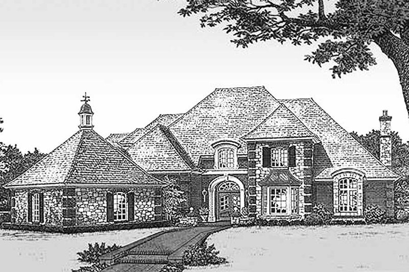 European Style House Plan - 5 Beds 4.5 Baths 4451 Sq/Ft Plan #310-516 Exterior - Front Elevation