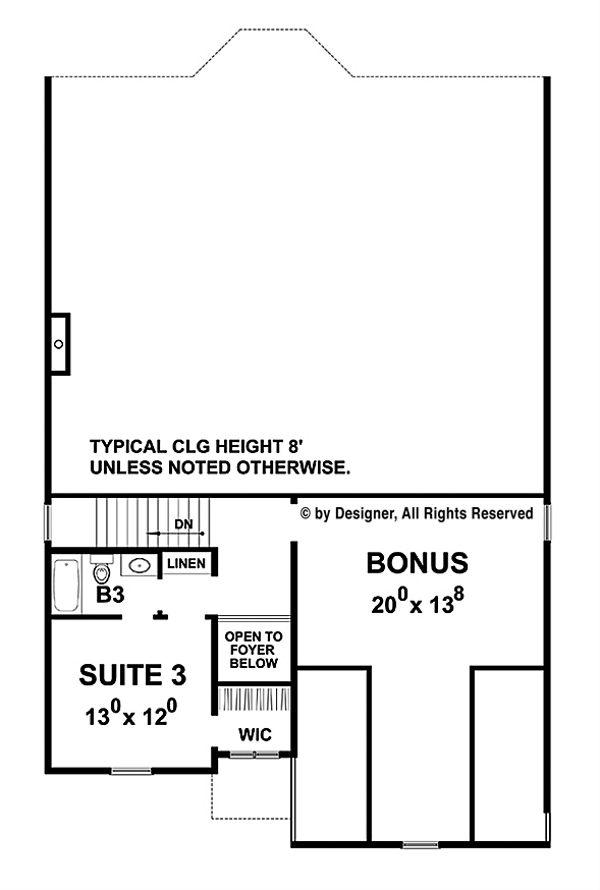 Traditional Floor Plan - Upper Floor Plan Plan #20-2275