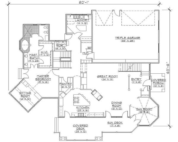 European Floor Plan - Main Floor Plan Plan #5-406