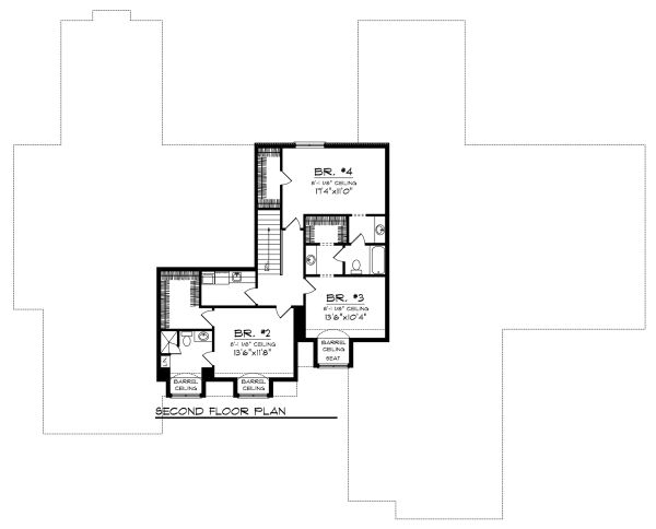 European Floor Plan - Upper Floor Plan Plan #70-1151