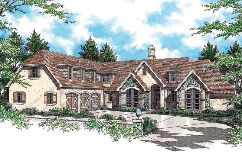 European Exterior - Front Elevation Plan #48-145 - Houseplans.com