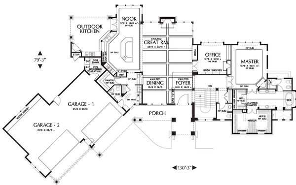 Craftsman Floor Plan - Main Floor Plan Plan #48-233