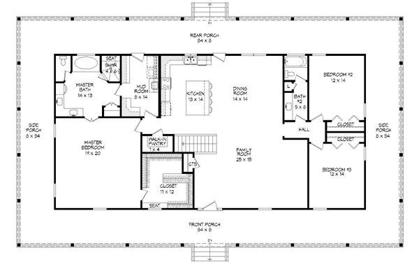 Country Floor Plan - Main Floor Plan #932-175