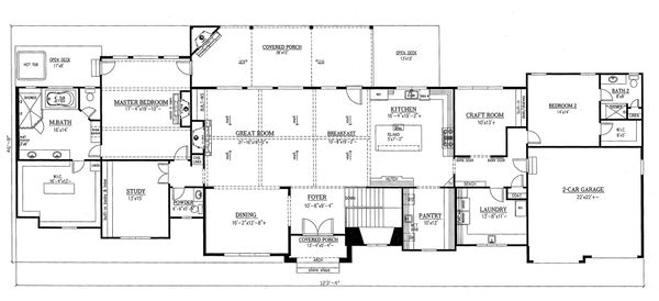 Dream House Plan - Craftsman Floor Plan - Main Floor Plan #437-96