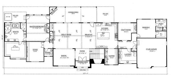 House Plan Design - Craftsman Floor Plan - Main Floor Plan #437-96