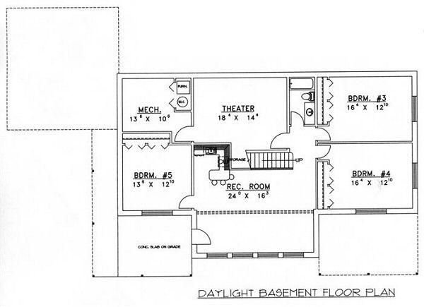 Bungalow Floor Plan - Lower Floor Plan Plan #117-530