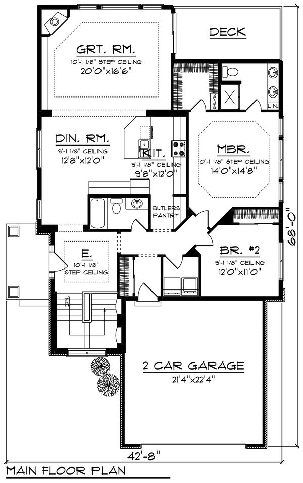 Architectural House Design - Ranch Floor Plan - Main Floor Plan #70-1241
