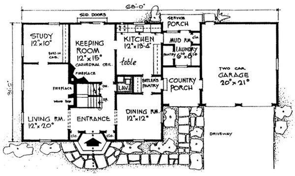 Colonial Floor Plan - Main Floor Plan Plan #315-101