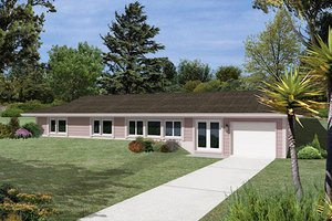 Ranch Exterior - Front Elevation Plan #57-261