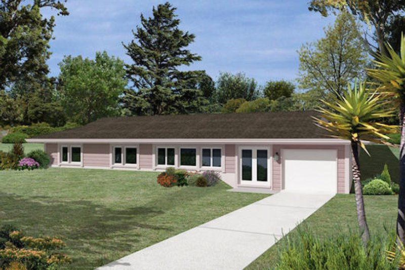 Ranch Style House Plan - 3 Beds 2.5 Baths 1643 Sq/Ft Plan #57-261 Exterior - Front Elevation