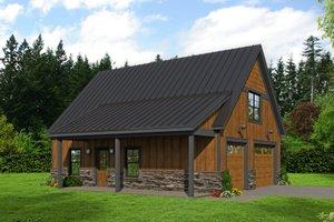 Cabin Exterior - Front Elevation Plan #932-214