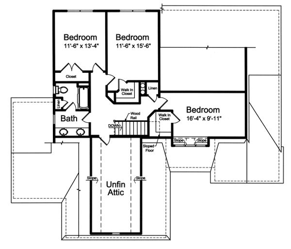Dream House Plan - Country Floor Plan - Upper Floor Plan #46-880